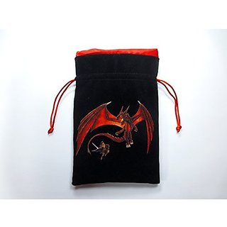 5x8 Premium Dragon Black Velvet Dice Bag With Strong Red Satin Lining (Dice Bag Capacity Is 15 Sets / 100 Dice / 1 Pound Of Dice)
