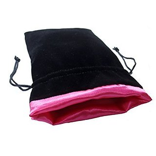 5x8 Princess Pink Premium Black Velvet Dice Bag With Strong Pink Satin Lining (Dice Bag Capacity Is 15 Sets / 100 Dice / 1 Pound Of Dice)