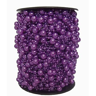 200 Feet Roll Fishing Line Artificial Pearls Beads Chain Garland Flowers Wedding Party Decoration Products Supply (Purple)