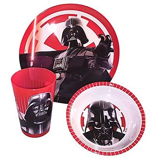 Zak! Designs 3-piece Mealtime Set includes Plate, Bowl and Tumbler with Star Wars Darth Vader Graphics