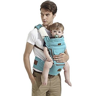 Bebamour Cotton Baby Newborn Carrier Infant Comfort Backpack Sling Wrap (Light blue)