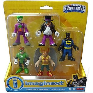 Fisher Price Imaginext Dc Super Friends 5 Figure Pack Joker, Penguin, Batman, Hawk Man, Green Lantern
