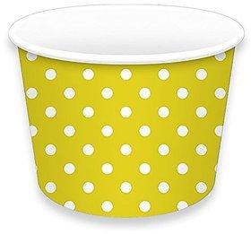 Ice Cream Cups 8oz., Yellow/Polka Dots, 12 Pcs