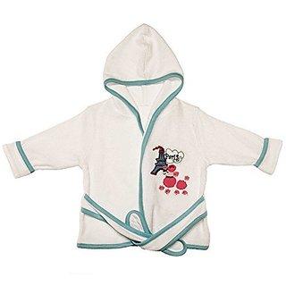 Funkoos Paris Poodle Organic Baby Hooded Bathrobe, Baby Girl, Infant/baby