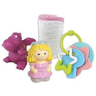 Stephan Baby Fairy Tale Wash Cloth, Key Rattle and Bath Squirter Set, Princess and Dragon