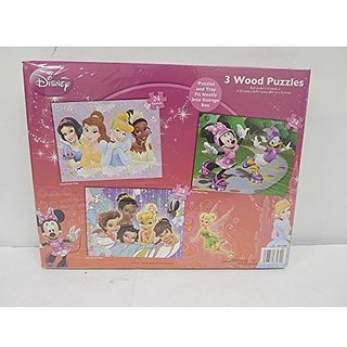 Disney 3 Real Wood Puzzles In Storage Box, Includes Fairies, Disney Princesses And Minnie Mouse Designs by Disney