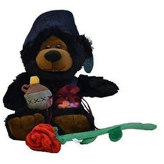 Bear, bendable plush red long stem forever rose, Heart shaped organza bag filled with tiny heart candy.