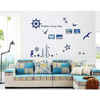 Yunko Removable Vinyl Diy Nursery Wall Decals Wall Sticker Murals Wall Deocrative Art Decor for Bedroom Living Room Tv Background Offices Wall Decoration,Blue Sea World
