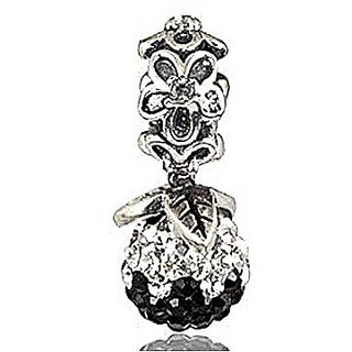 Forever Bloom with Clear and Black Crystal 925 Sterling Silver Bead Fits Pandora Charm Bracelet