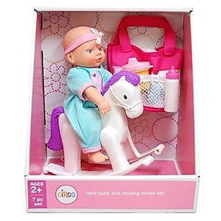 Mini Baby Doll Rocking Horse Set (Outfits Color/Style May Vary)