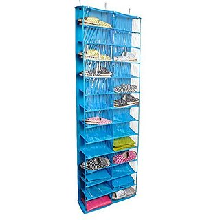 Tune Up Clear PVC Over-the-door 26-pocket Shoe Organizer, Washable Oxford Shoe Rack, Hanging Shoe Storage Bag (Light Blue)
