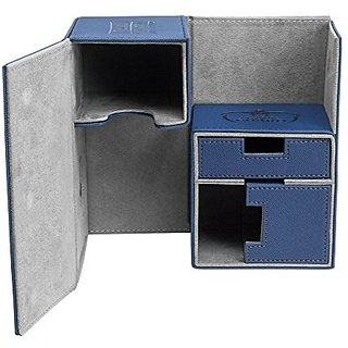Twin FlipnTray Deck Case 160+ Standard Size XenoSkin Blue Card Game