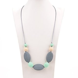 Consider It Maid Silicone Teething Necklace for Mom to Wear - FREE E-BOOK - BPA FREE and FDA Approved - Motherhood (Grey/Mint/Navajo White)