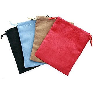 4 Pack Faux-Suede Dice Bags 5x6 - 1 of Each Color
