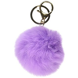 18 K Gold Plated Keychain with Plush Cute Genuine Rabbit Fur Key Chain for Car Key Ring or Bags 0025 (purple)