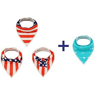 Alva Stylish Baby Bandana Drool Bibs for Boys and Girls 4 Pack of Super Absorbent Baby Gift Sets SJ0506