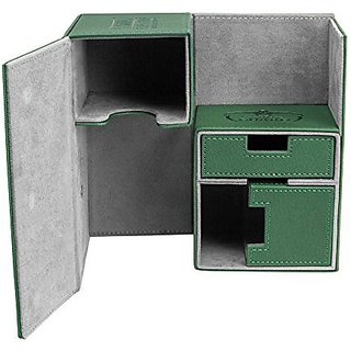 Twin FlipnTray Deck Case 160+ Standard Size XenoSkin Green Card Game
