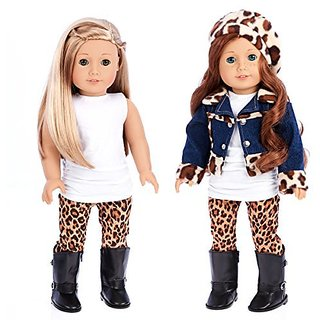 Trendy Jewel 5 Piece Outfit Jeans Jacket, White Tunic, Leggings, Beret And Black Boots American Girl Doll Clothes