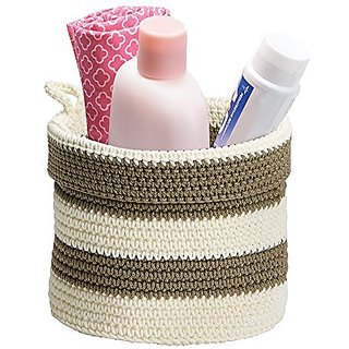 Knit Baby Nursery Closet Organizer Bin for Lotion, Medicine, Bibs, Books, Toys - Small, Khaki/Ivory