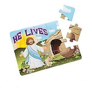 12 Set Foam He Lives Christ Jesus Christians 15 Piece Jigsaw Puzzles - Religious Bunny Easter Kids Boys Girls