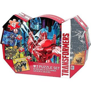 Transformers Three Puzzle Set with Metal Tin