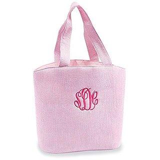 Mud Pie Seersucker Tote Diaper Bag, Pink