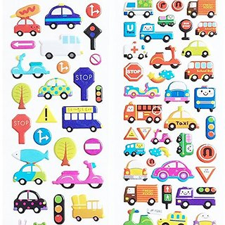 3 Sheets Car Truck Bus Puffy Stickers