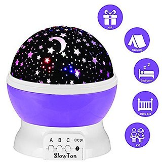 Starry Night Light Lamp,SlowTon Romantic 3 Modes Colorful LED Moon Sky Dreamer Desk Rotating Cosmos Starlight Projector for Children Kids Baby Bedroom