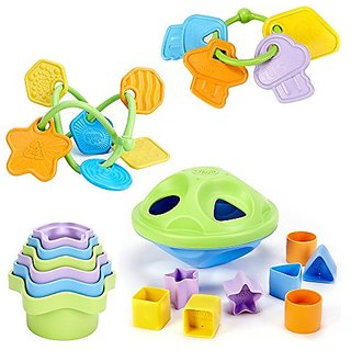 Green Toys Keys Teether, Twist Teether, Stacking Cups and Shape Sorter Bundle