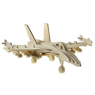 Michley 1pc 3 D Wooden Construction Jigsw Puzzle Kid Educational Woodcraft Diy Kit Toy Simulation Models F 18 Hornetbomber