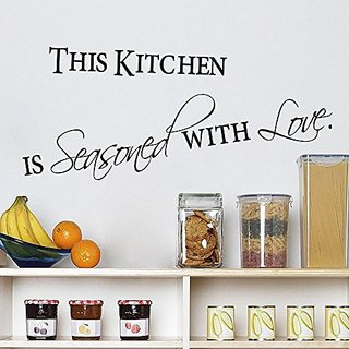 This Kitchen Is Seasoned with Love Quotes and Sayings Wall Decal Removable Vinyl Wall Art Stickers LUCKKYY
