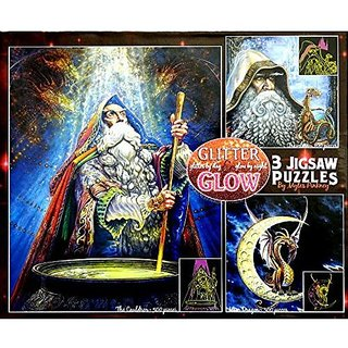 Glitter Glow 3 Jigsaw Puzzles the Cauldron Travelers Moon Dragon Glitter By Day
