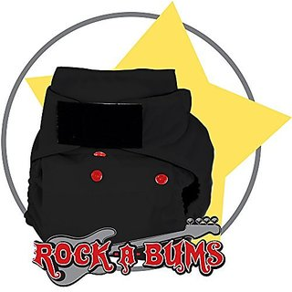 Rock-a-Bums 5-in-1 One-Size Cloth Diaper Pack-Velcro, Black