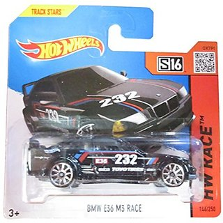 Hot Wheels Hw Race 146/250 Black Bmw E36 M3 Race On Short Card