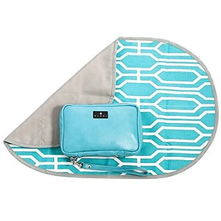 ELARI 5-in-1 Diaper Clutch and Portable Changing Station Compact Design Includes Machine Washable Changing Pad, Removable Wipes Case, Multiple Storage Compartments, Turquoise/Blue Leather