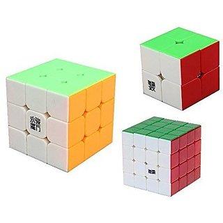 D Fanti X Moyu Stickerless Speed Cube Bundle Set Moyu Lingpo 2x2 Yj Yulong 3x3 Moyu Aosu 4x4 Puzzle Toys With 3 Stands (Pack Of 3)