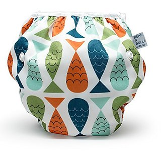 Belle Littles. Washable, Adjustable Cloth Swimming Diapers Fit Babies 0-3 Years, 6-40 Lbs Very Cute Waterproof Infant Swim Diaper, Makes a Great Gift for New Parents and Swimming Lessons! (Sea Turtles)