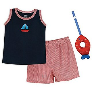 Stephan Baby Row Your Boat Boxer-Style Diaper Cover with Sailboat Tank Top and Plush Fish Teether Gift Set, White/Red/Blue, 12-18 Months