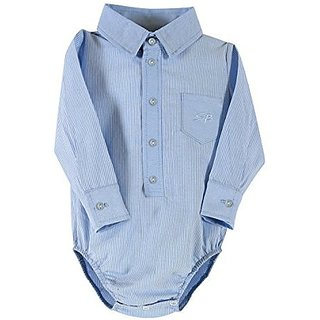 Stephan Baby Snapshirt-Style Oxford Cloth Diaper Cover, Blue, 6-12 Months
