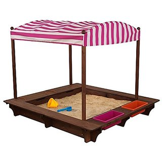 Outdoor Sandbox with Canopy - Pink and White