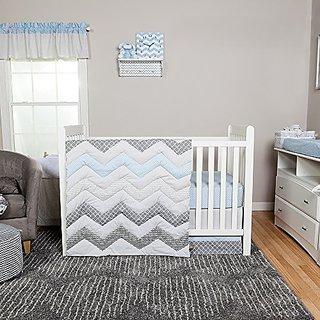 Trend Lab Chevron 3 Piece Crib Bedding Set, Blue Taffy