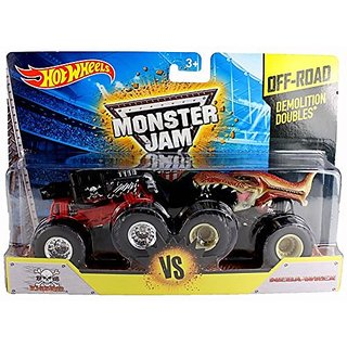 Hot Wheels Monster Jam Off Road Demolition Doubles Bone Shaker Vs Mega Wrex