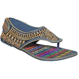 Port Womens Gold-worked Ethnic Flats