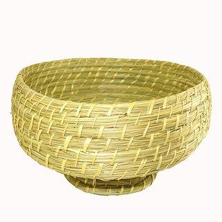 Unicraft India Exclusive Handmade Golden Grass Fruit Basket