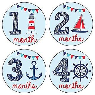 Pinkie Penguin Baby Monthly Stickers - Nautical Theme - Baby Boy - 1-12 Months - Milestone Onesie Stickers -Baby Shower Gift