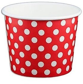 Red Polka Dot Ice Cream Cups 12 Oz - 50 Count