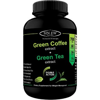 Sinew Nutrition Green Tea and Green Coffee Extract 700 mg (60 Pure Veg Capsules), Pure Natural Weight Management