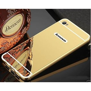 Luxury Aluminum Metal Bumper With Mirror Back Cover Case For Lenovo Vibe K5 (Gold)