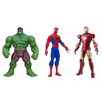 3 Action Figures Avengers - Hulk, Spiderman & Iron Man With LED Light