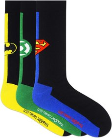 Justice League Men's Crew Socks - Pack of 3-JLMNHTCR-01